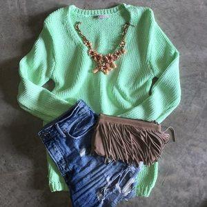 Mint green chunky sweater